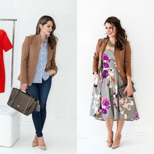 the corporate catwalk blogger office outfits blazer floral dress striped shirt leggings bag shoes jacket dress