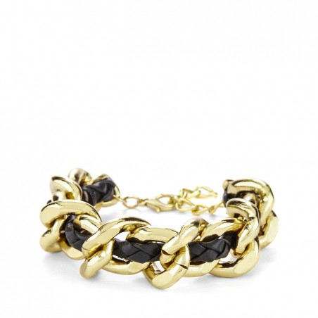 Sole Society - Link and Leather Bracelet - Black