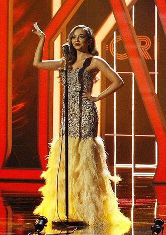 dress gown sequins sequin dress feathers little mix jade thirlwall strapless bustier bustier dress