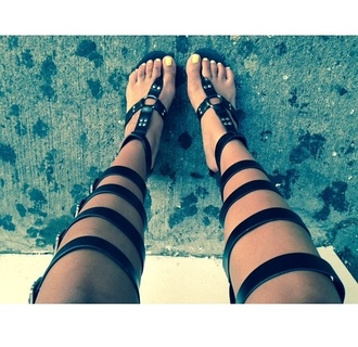 shoes knee high sandals gladiator strappy boho