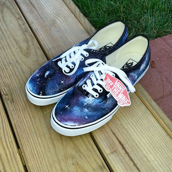 Custom Hand Painted Galaxy Print Vans on Wanelo