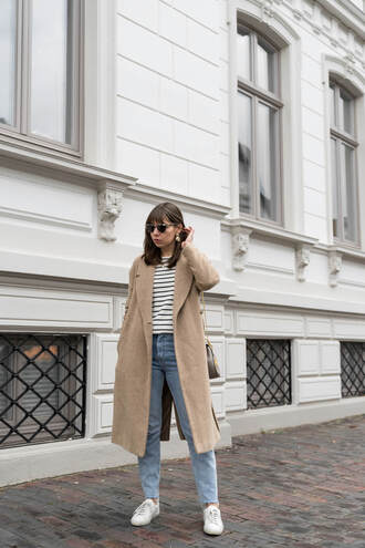 coat tumblr nude coat denim jeans light blue jeans sneakers white sneakers top stripes striped top sunglasses