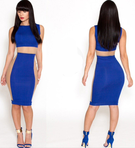 New 2014 Women Spring Summer Blue Geometric see Sexy Party Pencil Bodycon Bandage Dress Vintage Celebrity Brand SM-020 | Amazing Shoes UK