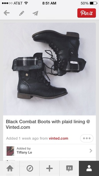 shoes boots combat boots flannel black lace cloth