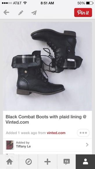 black cloth shoes boots combat boots flannel lace