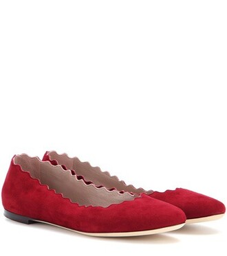suede red shoes
