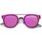 Fiyah wire flat frame mirror sunglasses in purple black at flyjane