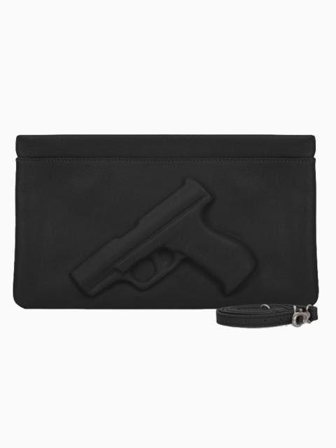 Black clutch gun bag with strap