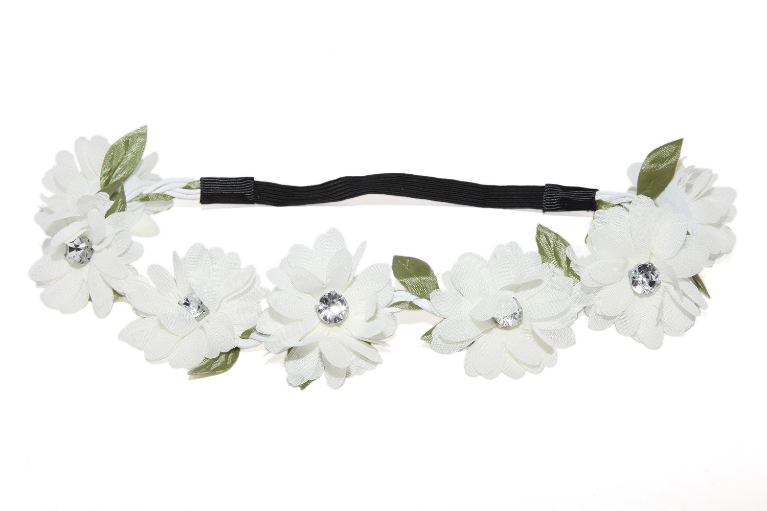 Amazon.com: Lux Accessories Full Bloom White Stretch Flower Green Leaf Coachella Floral Headband: Lux Accessories: Jewelry