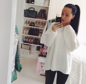 sweater,white,cotton,knitted sweater