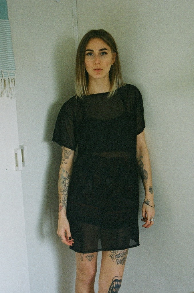 Black mesh shirt dress