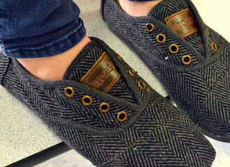 shoes toms grey grey shoes wool herringbone flats hipster indie toms     shoes no laces