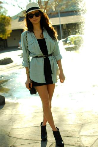 hapa time hat shoes belt bag sunglasses denim shirt denim jacket black dress mini dress shoulder bag black bag waist belt white hat black boots ankle boots