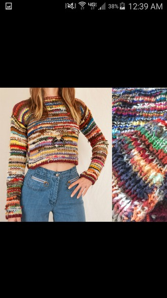 shirt vibrant yarn yellow blue red white green pink crop tops crop long sleeves soft top loose