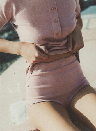 dusty pink pink muted color skirt high waisted shorts button up blouse light pink tumblr outfit shorts blush pink hot pants button shirt 2 pieces outfit aesthetic tumblr tumblr girl tumblr clothes cute clothes shirt american apparel polo shirt sexy clothing set pastel