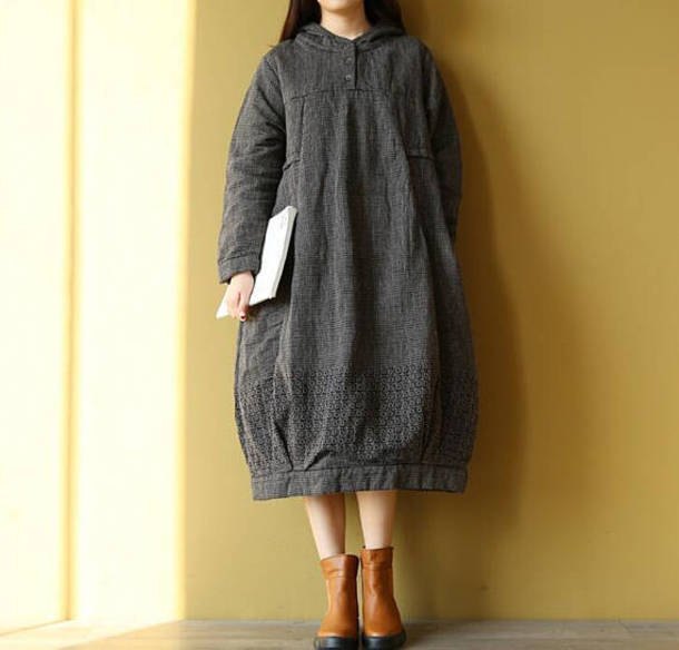 dress black dress hooded lantern skirt