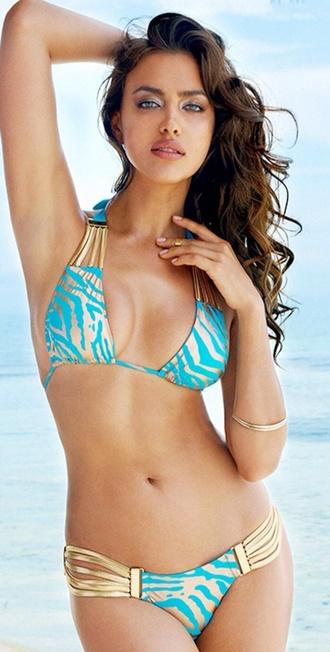 swimwear 2-piece turquoise halter top.