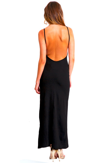 Midnight black textured open back maxi dress