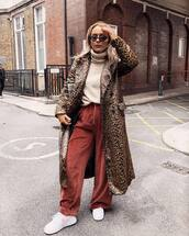 coat,long coat,leopard print,joggers,sneakers,nike sneakers,turtleneck sweater,sunglasses,shoulder bag