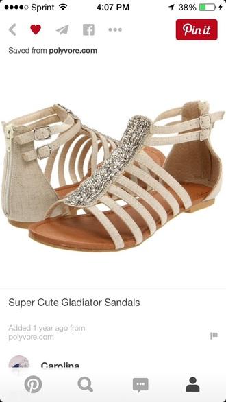shoes gladiators sparkle tan cream