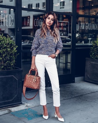 jeans white jeans cropped jeans shoes white shoes slingbacks sweater bag dior bag knitted sweater