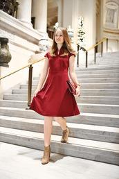 chowdownusa,blogger,dress,jewels,bag,red dress,midi dress,ankle boots,clutch