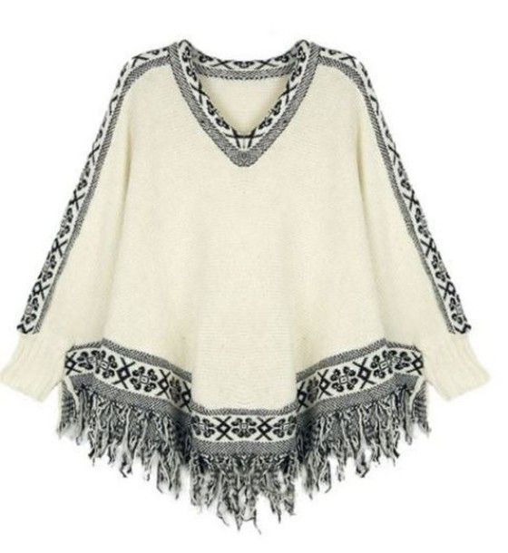 top beige and black batwing sleeves cape top tassel poncho sweater www.ustrendy.com