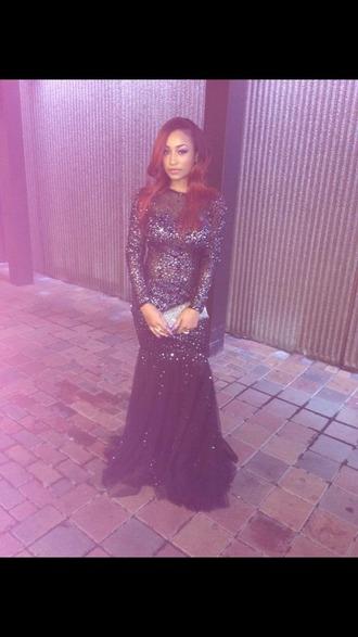 dress prom dress long prom dress sparkly dress black prom dress long sleeve dress