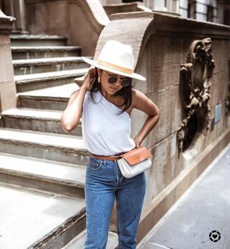top tumblr felt hat hat white hat one shoulder white top denim bag