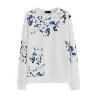 shirt white sweater floral shirt cotton shirt sweatshirt floral vintage women sweatshirt
