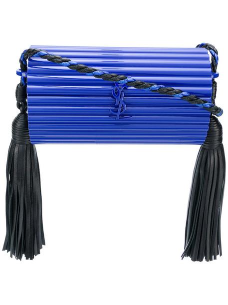 Saint Laurent women plastic bag leather blue