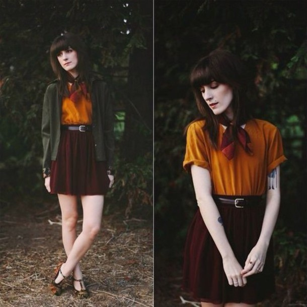 Skirt tumblr outfit vintage cute tumblr outfit blouse cardigan burgundy orange black ...