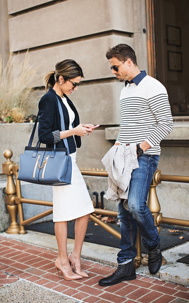 hello fashion blogger dress sailor office outfits couple mens sweater jacket shoes bag sunglasses jewels sweater shirt