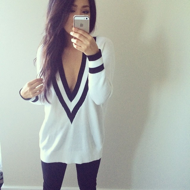 """""""varsity charm"""" sweater top (2 colors available) – glamzelle"""