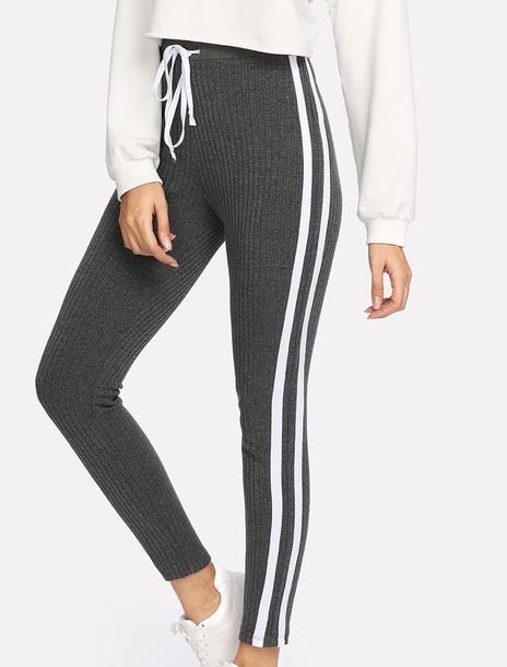 pants girly grey knit white stripes joggers joggers pants leggings