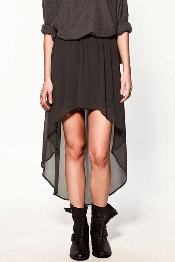 Black High Low Semi-sheer Chiffon Skirt