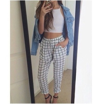 pants white checkered checkered pants aesthetic grunge loose high waisted