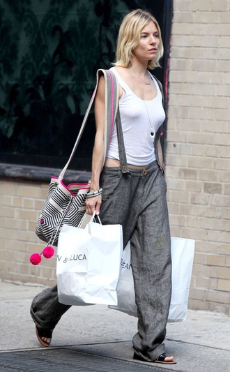 pants sienna miller blonde hair beautiful comfy boho boho chic hippie baggy grey amazing street streetstyle bag