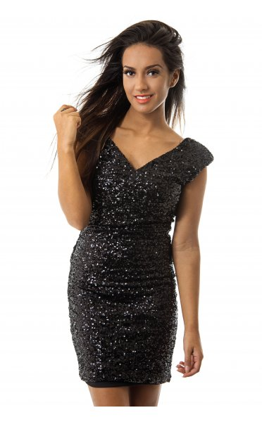 a9593af373f LUXE Black Bow Back Sequin Bodycon Dress - from The Fashion Bible UK