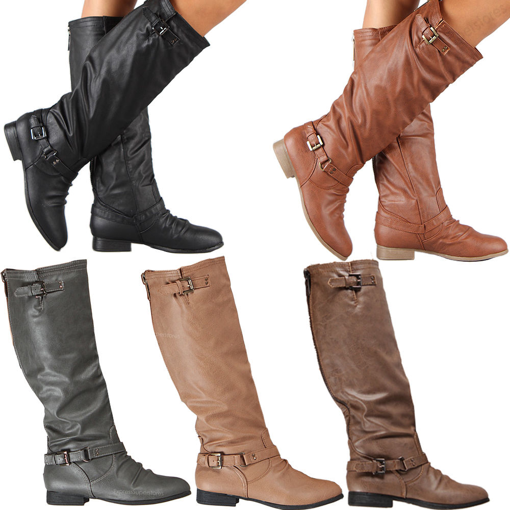 Riding Boots Knee High Fashion Slouch Faux Leather Hot Stylish ...