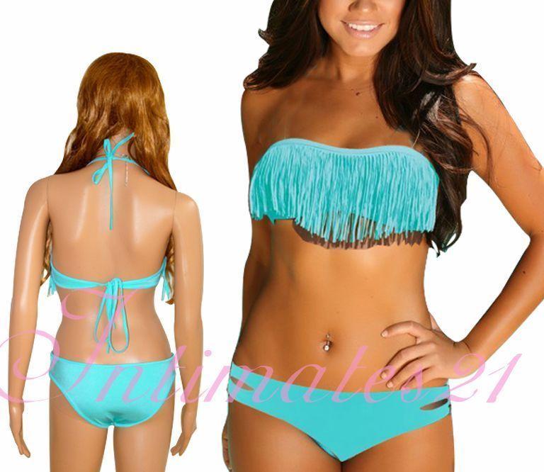 Fringe Space Dolly Bikini Turquoise Size M Removeable Padding Top Melon | eBay