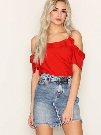 skirt denim denim skirt nelly red top frilly river island mini skirt destroyed denim