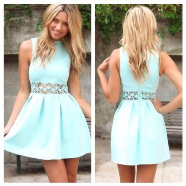 dress mint dress blue summer lace