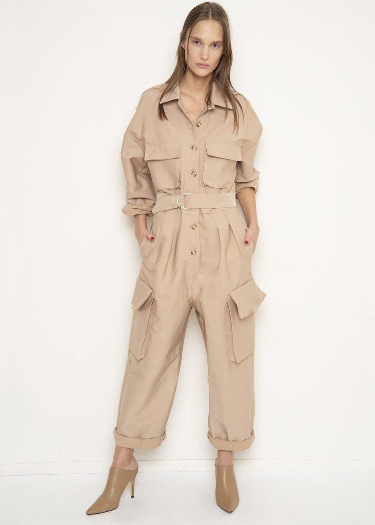 Linda Khaki Patch Pocket Utility Jumpsuit