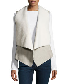 Draped Faux-Shearling Vest, Gray