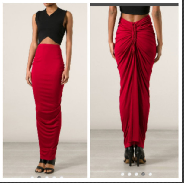 skirt, long, maxi, ruby, gathered, bodycon skirt