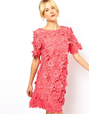 ASOS | ASOS Shift Dress With 3D Flower Lace at ASOS