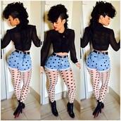 shorts,urban,blouse,denim shorts,long sleeves,polka dots,black boots,louboutin,button up,see through