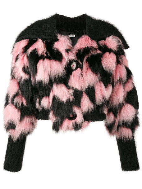 Miu Miu jacket cropped jacket patchwork cropped fur fox women mohair black