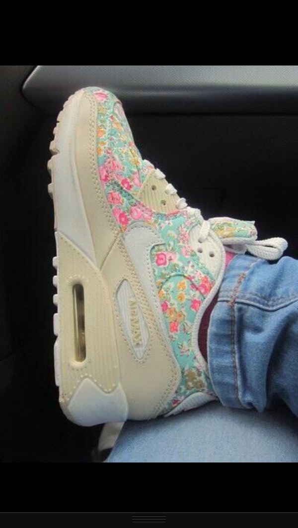 shoes flowers air max tan nike nike shoes air maxes
